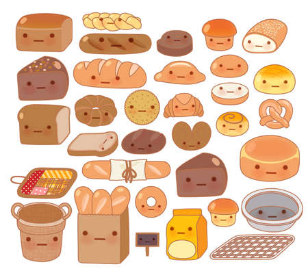 pita bread: Collection of lovely baby bakery food doodle icon, cute white bread, adorable bun, sweet wheat bread, croissant, girly brown bread in childlike manga cartoon isolated on white