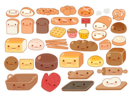 japanese dessert: Collection of lovely baby bakery food doodle icon, cute white bread, adorable bun, sweet wheat bread, croissant, girly brown bread in childlike manga cartoon isolated on white