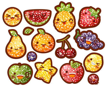 berry fruit: Collection of lovely glitter fruit , fruit with sugar coat doodle icon, cute strawberry, sweet orange, berry in childlike manga cartoon for kid and baby isolated on white