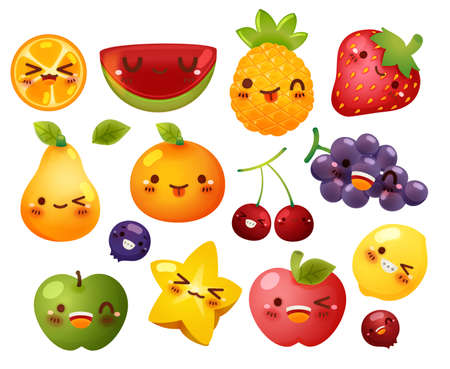 Collection of lovely baby fruit doodle icon, cute strawberry, adorable melon, sweet orange, berry, girly apple in childlike manga cartoon for kid and baby isolated on white