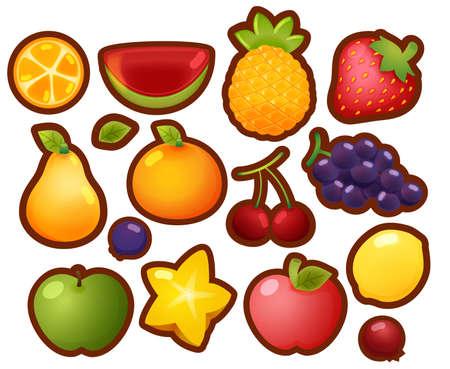berry fruit: Collection Set of colorful glossy cartoon fruit icons, orange, watermelon, pineapple, strawberry, pear, orange, cherry, grape, lemon, berry, apple, starfruit, isolated on white
