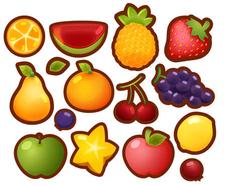 Collection Set of colorful glossy cartoon fruit icons, orange, watermelon, pineapple, strawberry, pear, orange, cherry, grape, lemon, berry, apple, starfruit, isolated on white