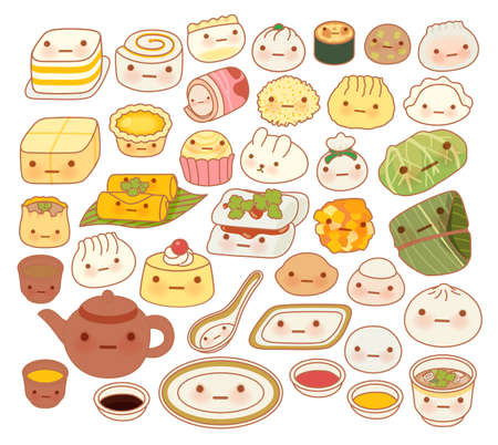 Collection of lovely baby chinese oriental food doodle icon, cute fun go, adorable har gow, sweet dimsum, shumai , girly dumpling in childlike manga cartoon isolated on white Illustration