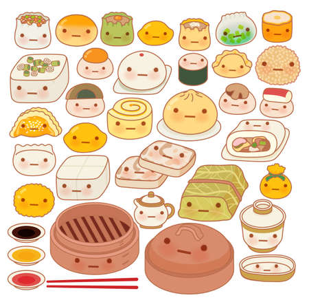 puff pastry: Collection of lovely baby chinese oriental food doodle icon, cute fun go, adorable har gow, sweet dimsum, shumai , girly dumpling in childlike manga cartoon isolated on white Illustration