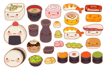 uni: Collection of lovely baby japanese oriental food doodle icon, cute sushi, adorable sashimi, sweet nigiri, miso soup, girly maki, in childlike manga cartoon isolated on white