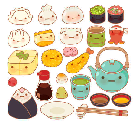 Collection of lovely baby japanese oriental food doodle icon, cute sushi, adorable dumpling, sweet tempura, wonton, girly gyoza in childlike manga cartoon isolated on white