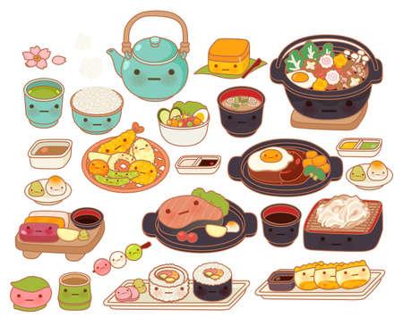 comida japonesa: Colección de icono de bebé precioso japonés doodle de alimentos, tempura lindo, adorable sashimi, filete de hamburguesa dulce, maki, sukiyaki femenino de dibujos animados manga de niño aislado en blanco