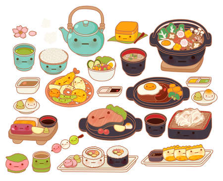 Collection of lovely baby japanese food doodle icon, cute tempura, adorable sashimi, sweet hamburg steak, maki, girly sukiyaki in childlike manga cartoon isolated on white