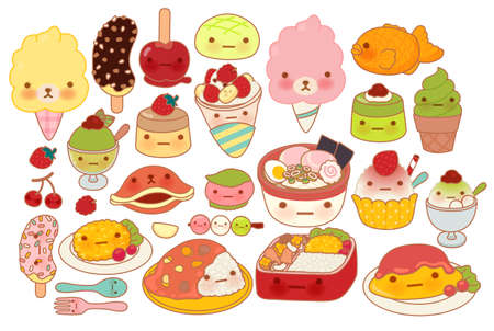 Collection of lovely baby japanese food doodle icon, cute omelette, adorable dessert, sweet choco banana, pudding, girly ramen in childlike manga cartoon isolated on white Illustration