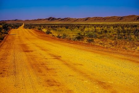 Solitary Unsealed Road - Woodstock Hillside - Pilbara - Australia