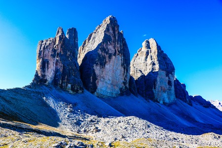 Mountain Landscape with a Peaks View Eroded in a Picturesque Shape - Three Peaks of Lavaredo - Sesto Dolomites Natural Park - Italy Фото со стока