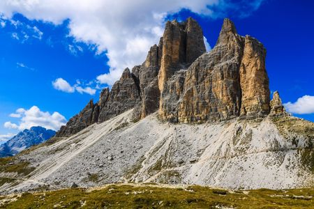 Alpine Landscape with Mount Massif Highlighted - Sesto Dolomites Natural Park - Italy