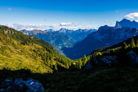 Alpine Landscape at the Sunrise from Torcol Valley - Dolomites - Italy 版權商用圖片
