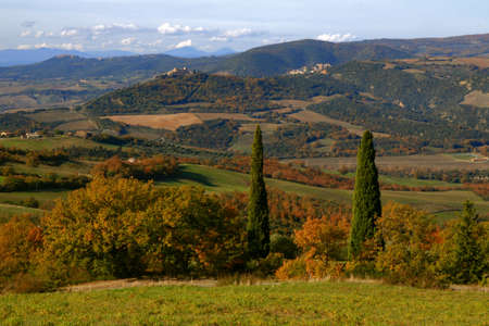 Landscape of Tuscan countryside in Autumn with a view of two small ancient village on the top of the hills: Castelnuovo dell'Abate and Montalcino far away - Tuscany - Italy