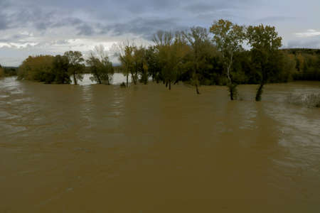 River flooding after strong rainfall in Autumn - Istia d'Ombrone - Grosseto - Tuscany - Italy Banque d'images