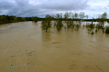 River flooding after strong rainfall in Autumn - Istia d'Ombrone - Grosseto - Tuscany - Italy