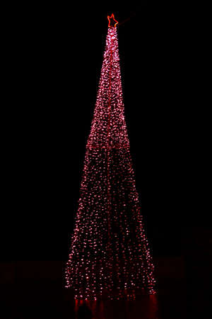 Christmas tree decorated with bright lights and a christmas star on the top in a dark night