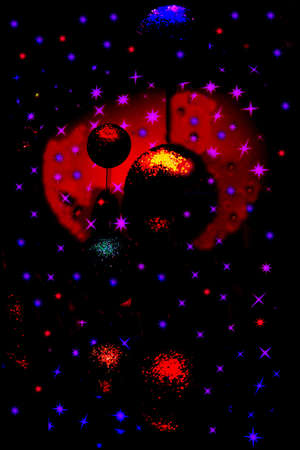 Christmas atmosphere: Christmas balls decorated a window shop in a starry dark sky with a red moon in the background