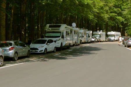Holiday on the road - People travel by camper in summer - Amiata mount - Tuscany -Italy