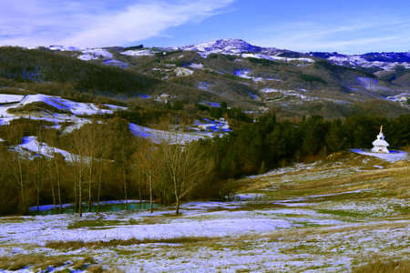 View of hills covered with snow surrounding Monte Labbro - Grosseto - Tuscany - Italy