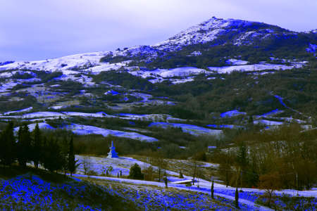 View of mountain peak covered with snow - Monte Labbro - Grosseto - Tuscany - Italy Banque d'images