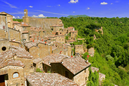 View of an ancient village built on tuff - Sorano - Tuscany - Italy