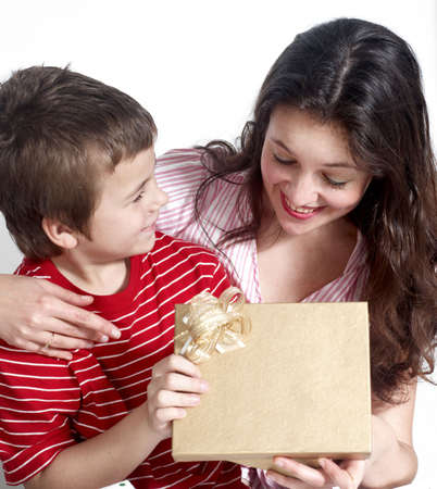 gift packs: Happy family with a gifts
