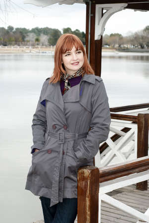 Portrait of a beautiful woman on the bank of lake Stock Photo - 5465853