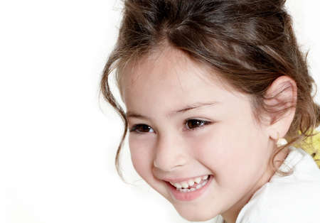 happy little girl a on white background
