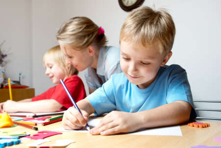place to learn: Drawing lesson in an elementary school