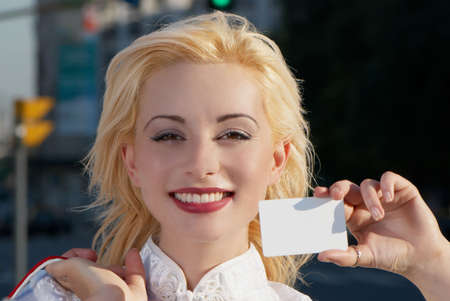 farward: Woman with blank businesscard