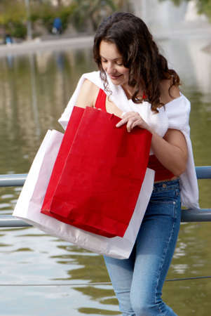 Portrait of an attractive young  women out shopping Stock Photo - 5509930
