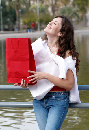Portrait of an attractive young  women out shopping Stock Photo - 5509950