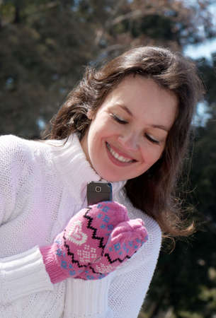 portrait of happy woman with phone Stock Photo - 5597276