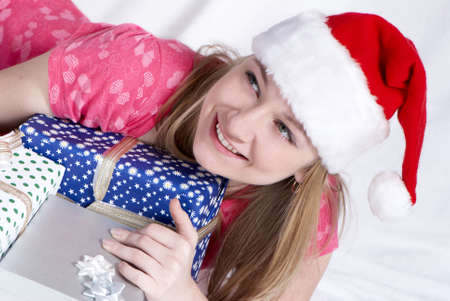 Mrs. Santa Clause With New Years gifts  photo