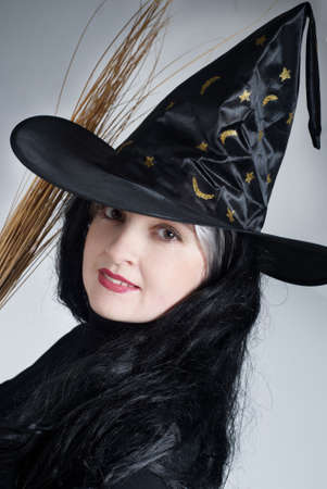 Portrait of a cute witch with hat Stock Photo - 5597306