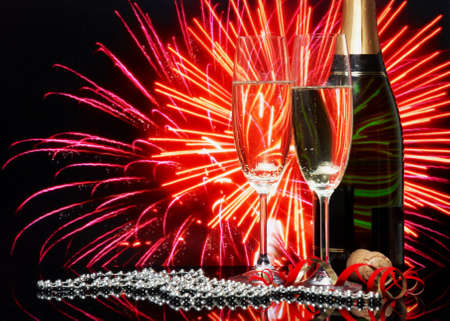 Glasses with champagne on an abstract background  photo