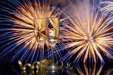 Okulary z szampana przeciwko program fireworks
