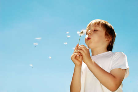 With dandelions in hands against the sky Stock Photo