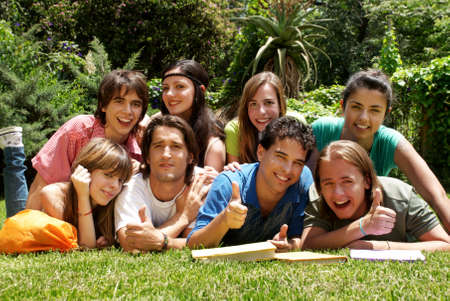 group of college students outdoors Stock Photo - 6222193