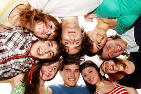 Cheerful young people having fun summer holidays.