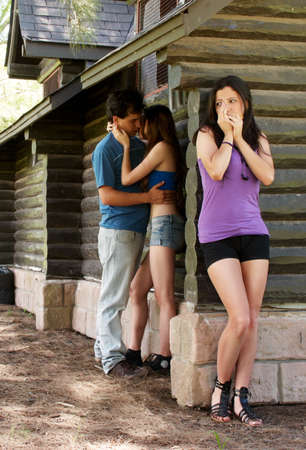 The girl found  best girlfriend with guy
