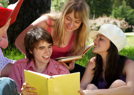 college or university students studying outdoors  photo