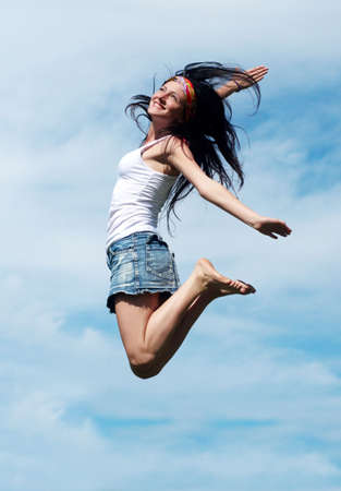 girl jumping photo