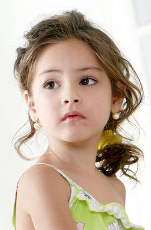 little girl. Portrait from the bottom point  Stock Photo