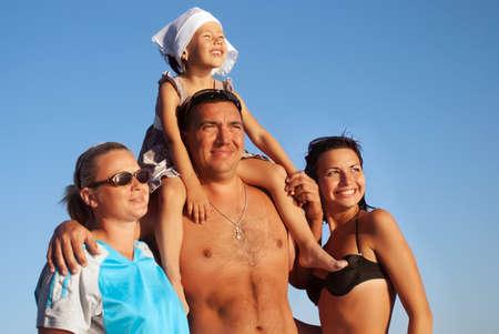 Portrait happy family on vacation Stock Photo - 7953344