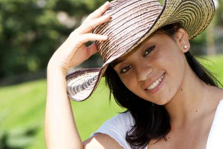 Beautiful girl kolumbijski w kapelusz Zdjęcie Seryjne