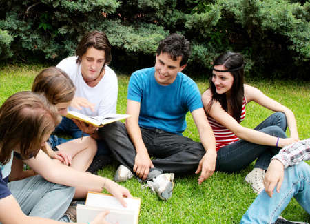 latin students: Group of students sitting in park on a grass