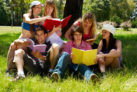 group of college students outdoors  photo