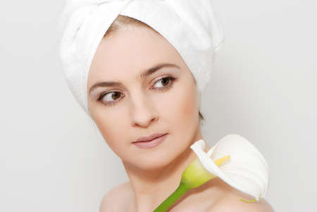 portrait of a beautiful woman getting ready for the spa treatment photo